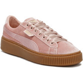 Puma  Womens Pink / Gum Velvet Basket Platform Trainers  women's Shoes (Trainers) in Pink