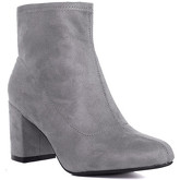 Spylovebuy  MAZO Sock Top Block Heel Ankle Boots Shoes - Grey Suede Style  women's Low Ankle Boots in Grey