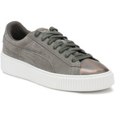 Puma  Womens Grey Pearl Platform Suede LunaLux Trainers  women's Shoes (Trainers) in Grey