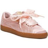 Puma  Womens Pink / Gum Velvet Basket Heart Trainers  women's Shoes (Trainers) in Pink