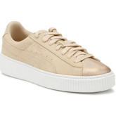 Puma  Womens Cream Tan Platform Suede LunaLux Trainers  women's Shoes (Trainers) in Brown