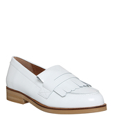 Office Verse Fringed loafers WHITE PATENT LEATHER