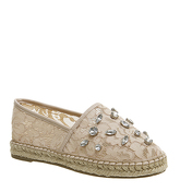 Office Flapper Gem Trim Espadrilles NUDE LACE