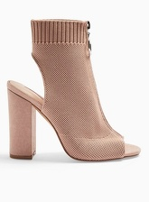 Womens Nude Strike Knitted Boots, NUDE