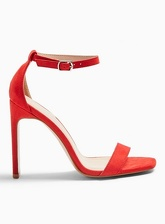 Womens Sallie Red Barely There Heel Sandals, Red