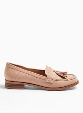 Womens Wide Fit Frankie Nude Tassel Loafers, NUDE