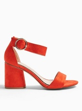 Womens Wide Fit Sophie Orange Block Heel Sandals, Orange