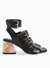 Womens Storm Black Multi Buckle Flared Heel Sandals, BLACK