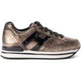 Hogan  H222 pale golden leather and black patent leather sneaker  men's Shoes (Trainers) in Gold
