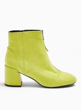 Womens Belle Lime Zip Front Boots, Lime