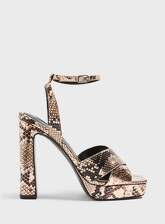 Womens Sofia Multi Colour Snake Print Platform Heeled Sandals, BRONZE