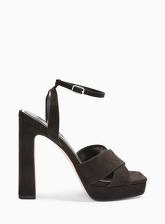 Womens Sofia Black Crossover Platform Heeled Sandals, BLACK
