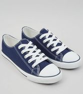 Navy Canvas Stripe Sole Trainers New Look