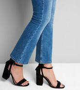 Black Suedette Bow Back Heeled Sandals New Look