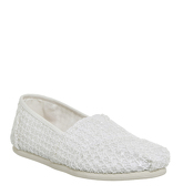 Toms Seasonal Classic Slip On WHITE CROCHET LACE
